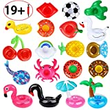 Dreampark Inflatable Drink Holders, 20 Pack Drink Floats Inflatable Cup Coasters with Mini Air Pump for Pool Party and Kids Bath Toys