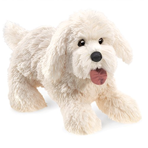 Folkmanis Panting Dog Hand Puppet Plush, White