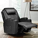 Massage Recliner Chair Leather Vibrating Heated Sofa w/Romote Control, 2 Cup Holders,4 Pockets (Electric Massage Chair Adjust Head-Black)