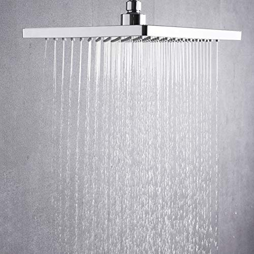 Premium High Pressure Fixed Shower Head ABS 8 inch, Removable Water Restrictor for High Flow-Adjustable Rain Shower Head with Self Cleaning Nozzles- Anti clog&Anti-leak-Polished Chrome