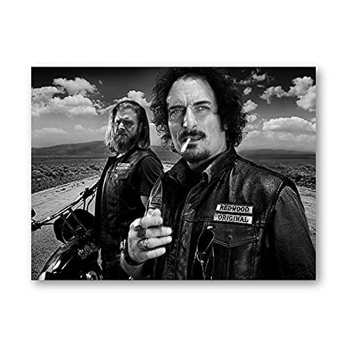 Kemeinuo Cuadros Modernos Carteles de Series de TV clásicas en Blanco y Negro Jax SOA FX Anarchy TV Show Print Cuadro de Arte de Pared Moderno 60x90cm