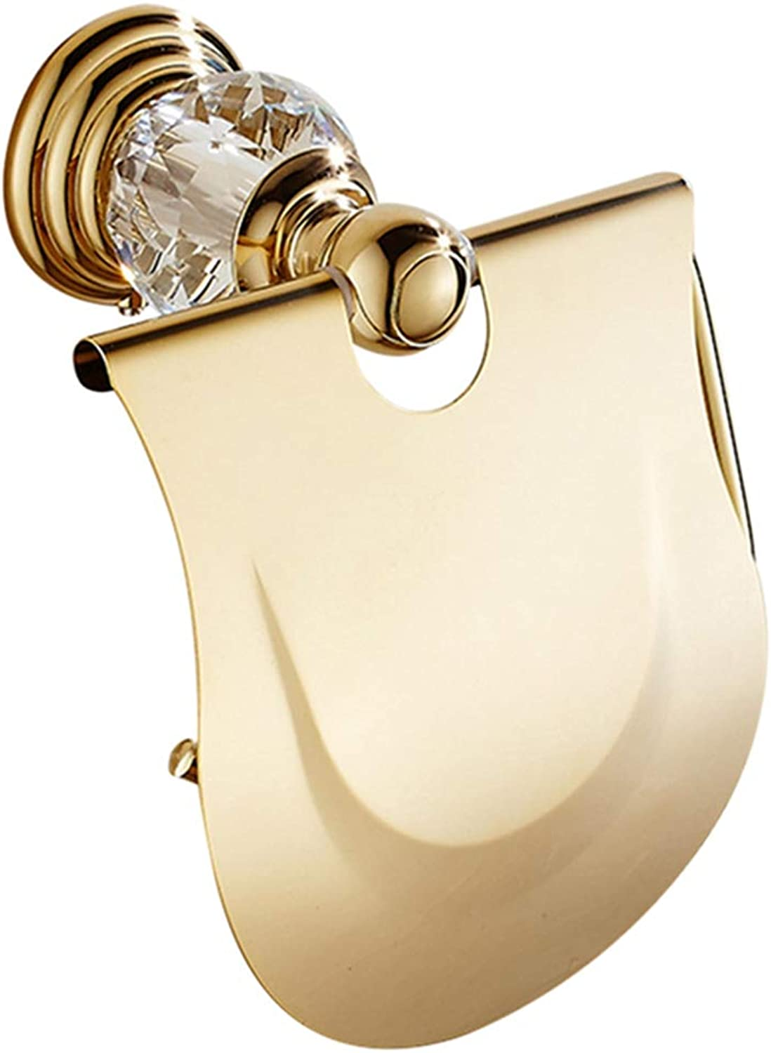 LUDSUY Zinc Alloy Toilet Paper Holder with Cover,Modern Crystal golden Polished Tissue Hanger