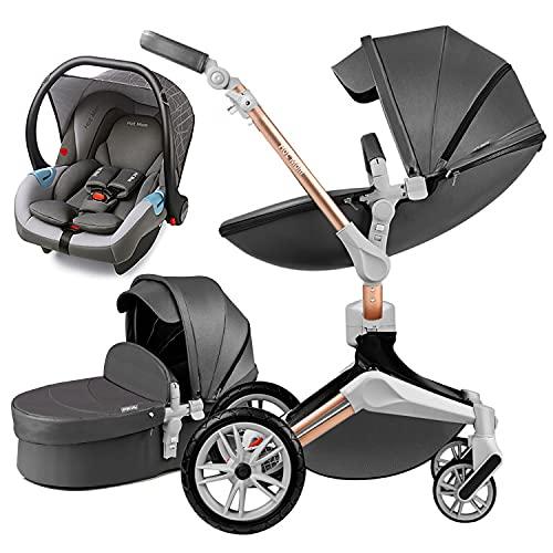 Silla de paseo Reversibilidad rotación multifuncional de 360 grados con buggy asiento y capazo 2020 Nueva actualización (gris oscuro)