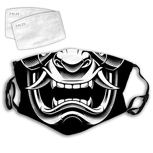 Laintock Samurai Japanese Skull Demon Evil Dust Cover Mouth Face Fliter Washable Reusable Dust Wind Protective Men Women Kids Teens Cover