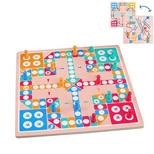 WFF Spielzeug Holz 2 in 1 Brettspiele for 12 Monate und Kinder Jungen Mädchen mit stabilem Boden und 16 Schachfiguren Platte Kinderspiele for Familien Fliegen Schach (Color : 1 Piece)