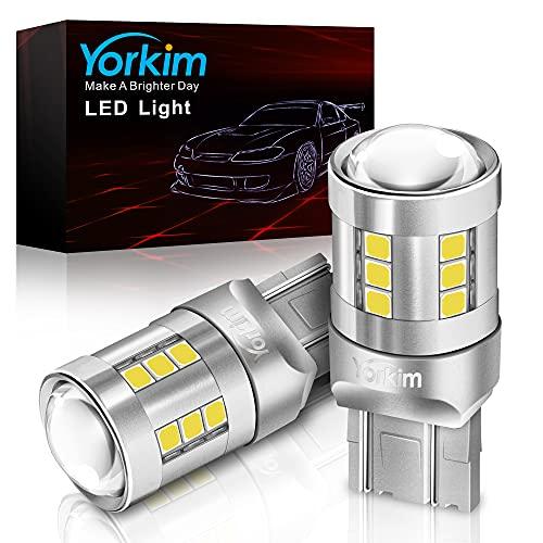Yorkim 7443 LED Bulb White, 6500K high bright 7440 led bulb with projector T20 W21W 7440NA led bulb...