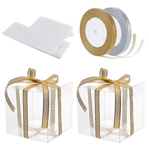 BENECREAT 10PCS Caja de PVC Plástico Transparente 12x12x12cm para Regalos con 2 Rollos Cinta Decorativa de 10mm de Ancho, Doradas y Plateadas Brillantes para Fiestas, Cumpleaños, Dulces