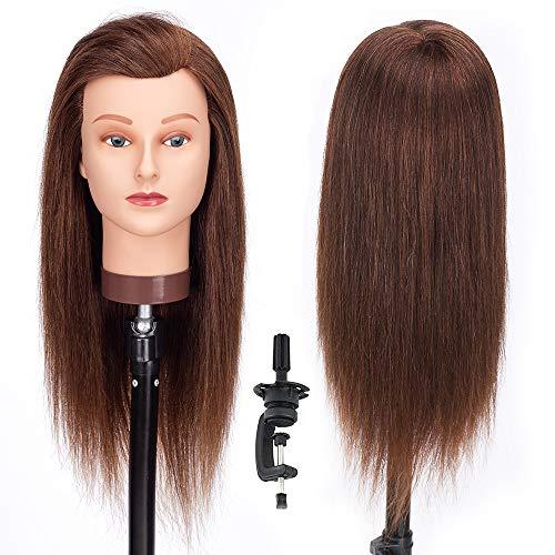 Cabeza de Maniquí, 18' 100% Cabello Humano Real Practicas Formación Muñeca de la Cosmetología para Peluquería, Cabeza de Muñeca con Soporte de Mesa