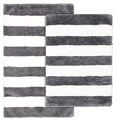 """Garland Rug Beach Stripe Bath Rug, 21"""" x 34"""", Cinder Grey/White"""