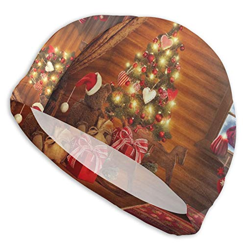 OULICH Swim Cap Santa Claus House Background 3D Ergonomic Design Durable Ear Protection for Women Men Adults Long Or Short Hair Keep Your Hair Dry
