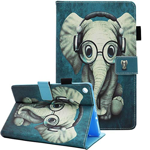 All-New HD 8 Case (Compatible with 8th/7th/6th Generation, 2018/2017/2016 Release), Fvimi PU Leather Folio Smart Cover with Auto Sleep/Wake, Not Suit for HD 8 10th Gen 2020 Tablet, Glasses Elephant