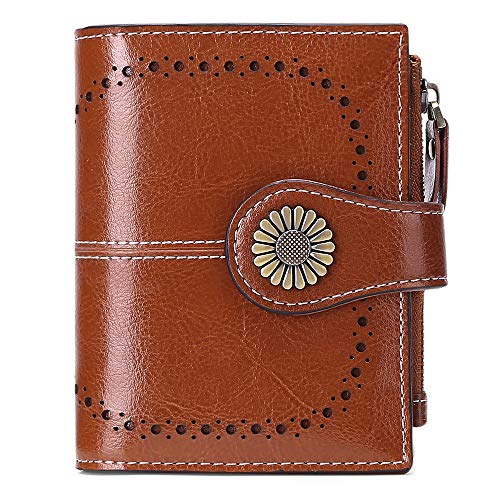 Geldbörse Damen Leder aus weichem Echtleder mit 16Kartenfächer Kurz Portemonnaie und Blocker RFID (Braun)
