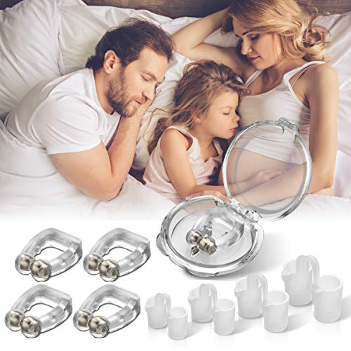 Anti Snoring Devices,Snore Stopper Anti Snore Nose Clips with Nasal Dilators Silicone Magnetic Snore Clipple Stop Snoring Nose Vent Plugs Snoring Solution Comfortable Snore Reducing Sleeping Aid