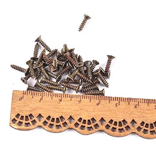 100 piezas de tornillos pequeños de bronce/plata/dorado para muebles de carpintero, accesorios de hardware, tornillo de cabeza plana, trabajo en madera C2421-2x10mm, 2