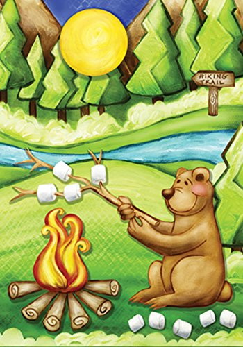 Marshmallow Roasting Camping Bear Garden Flag