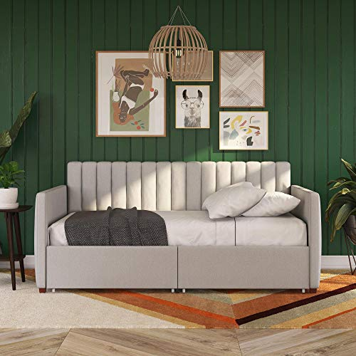 Novogratz Brittany Upholstered Bed Daybed, Twin, Gray