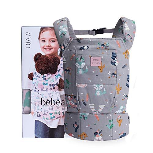 Bebamour Baby Puppentrage für Mädchen, 3 in 1 Babytrage Sling für Kinder, 100% Baumwolle Baby Doll Carrier, Grau mit Tier