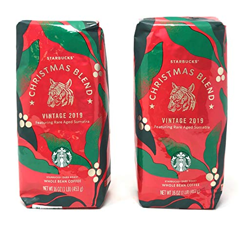 Starbucks Christmas Blend Vintage 2019 Whole Bean Coffee - Pack of 2 Bags - 32 oz Total - Dark Roast - Featuring Rare Aged Sumatra Beans - Arabica Coffee