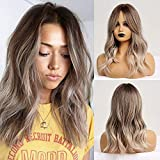 Ombre Brown Light Ash Blonde Medium Wave Wig Natural Look Realistic Wig Synthetic Hair Wig Heat Resistant Fiber Daily False Hair