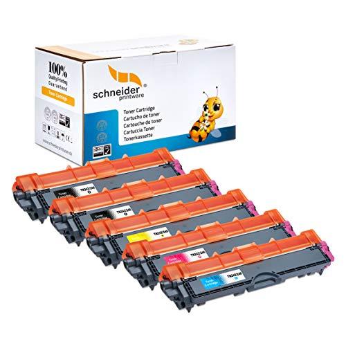 5 HOCHLEISTUNGS TONER nach ( ISO-Norm 19798) 2.900 Seiten Schwarz , 2.600 Seiten color für Brother HL-3142cw HL-3152cdw HL-3172cdw MFC-9332cdw MFC-9142cdn MFC-9342cdw DCP-9022cdw TN-242bk TN-246c TN-246m TN-246y ,Druckqualität ist wie beim Original Toner