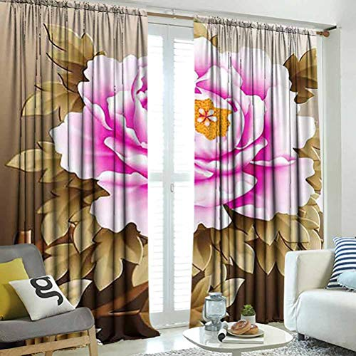 hengshu Pink and White Fubuki Dahlia Over red and White Santa Claus Dahlia, for Backdrop Curtain, Decorations for Girls Bedroom Age 10, W120 x L96 Inch,