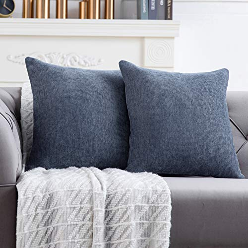Anickal Blue Grey Pillow Covers 18x18 Inch Set ...