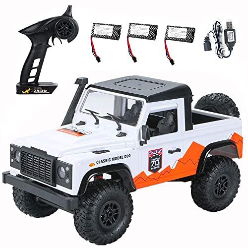 ykw Radio Control RC Cars Juguetes RTR Crawler Off-Road Buggy para Modelo de vehículo Coche Blanco 3 Baterías Regalo Creativo