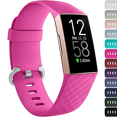 Ouwegaga Compatible with Fitbit Charge 4 Bands for Women,for Fitbit Charge 3 Bands Sport Straps Rose Pink Small