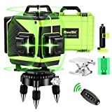 Seesii 4D Green Beam Self-Leveling Laser Level 4x360 Cross Line Laser Four-Plane Leveling Measure Tool -Three 360° Vertical and One 360° Horizontal Line-Remote Control & Magnetic Lifting Base
