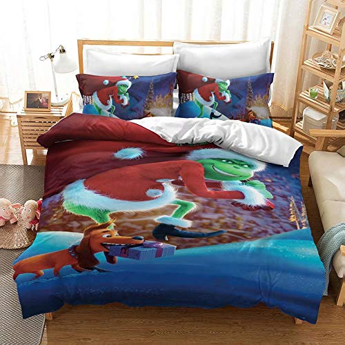 2 Pieces Grinch Duvet Cover Set for Kids 3D Cartoon Grinch Printed Bedding Set with Zipper Closure, Best Chirstmas Gifts for Boys Girls Teens Adults, No Comforter Inside