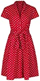 1940's Retro Vintage Style Red Polka Dot Belted A-Line Shirt Dress (10)