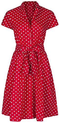 Damenkleid im 1940er Retrostil, A-Linie mit Gürtel, rot mit Punkten, Baumwoll-Hemdblusenkleid Gr. 52, rot