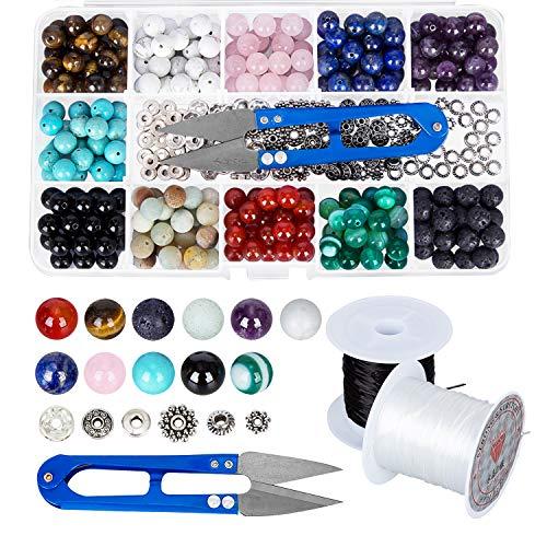 Lot de 264 Pierre Rondes Naturelles Améthyste, Amazonlite avec Accessoires pour Fabrication de Bijoux, Bracelets - 8 mm
