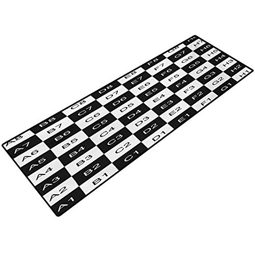 Checkers Game Floor Mats Monochrome Chess Board Design with Tile Coordinates Mosaic Square Pattern Indoor Outdoor Doormat Non Slip Front Door Mat 22x36 Inch Black White