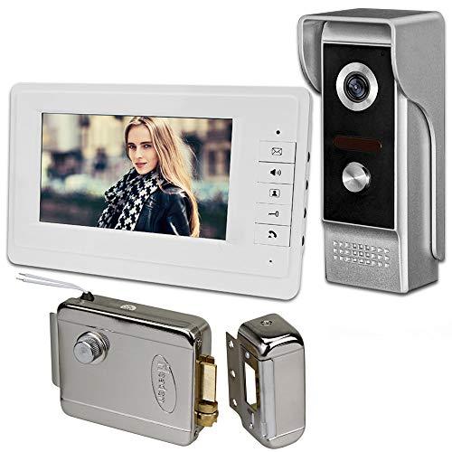 uoweky 7 '' TFT LCD con Cable Video Metal Intercom Timbre de la Puerta Sistema de Teléfono para el Hogar 700TVL IR Cámara Exterior Monitor de interior 100 Metros (1 camera 1 monitor 1 lock)