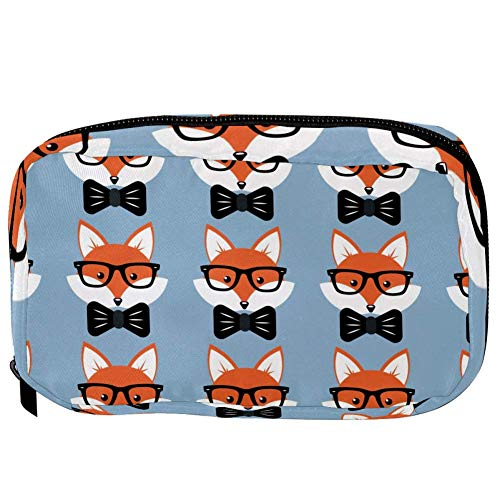 TIZORAX Cosmetic Bags Foxes In Glasses And Ties Handy Toiletry Travel Bag Organizer Makeup Pouch for Women Girls