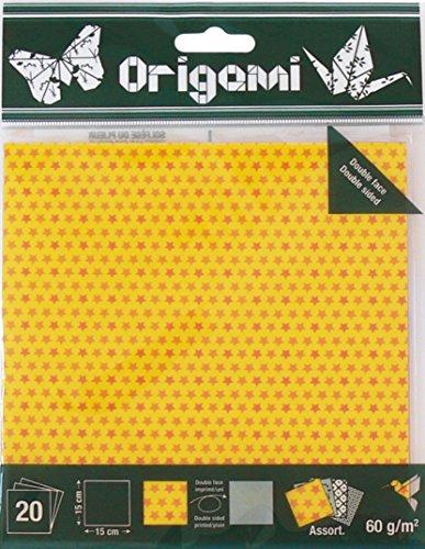 OZ International 20Stück Papiere Origami 15x 15cm, farblich sortiert Sterne farblich sortiert