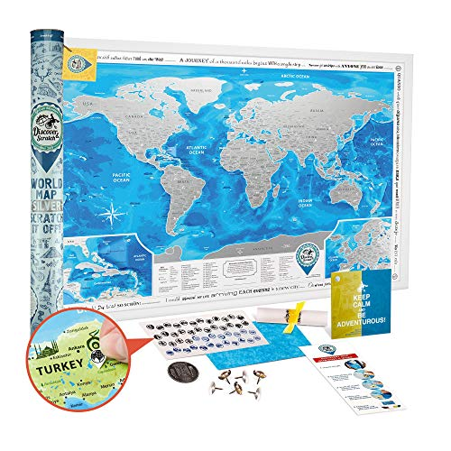 Discovery Map Scratch off World Map Poster Silver - Large Detailed Scratch off Map of the World 35x25 - Award Winning Premium Travel Map Scratch off with USA / Canada States and 2 Extra Maps