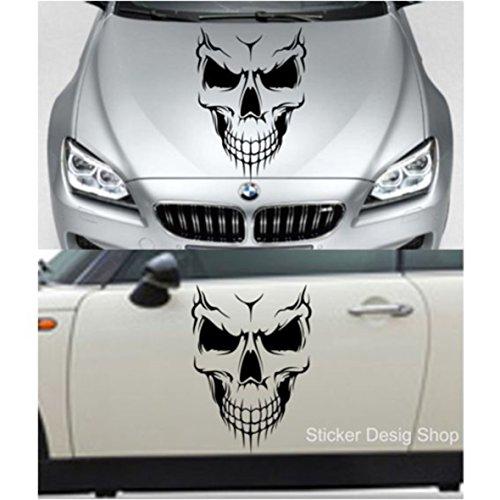 Skull Totenkopf Auto Aufkleber Sticker Wandtattoo Wandaufkleber Wohnzimmer Flur (50 x 35 cm)