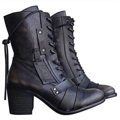 Zapatos de Moto de Piel para Mujer | Botas Vintage de Piel para Mujer, Botas Biker para Mujer (Color : Black, Size : 38)