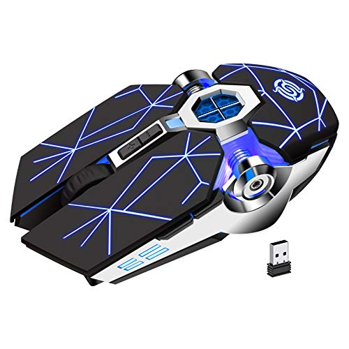 K-Snake Wireless Optical Gaming Mouse with LED Backlight Silent Rechargeable Bright USB Optical Mouse Vertical for Laptop PC