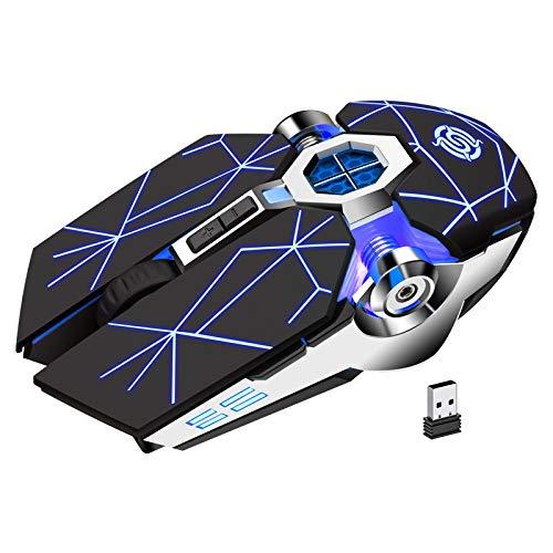 K-Snake optische Gaming-Maus, kabellos, mit LED-Hintergrundbeleuchtung, leise, wiederaufladbar, helle optische USB-Maus, vertikal, für Laptops und PCs.