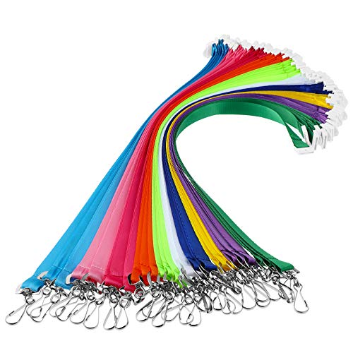 30 Pieces Breakaway Neck Lanyards Colorful Badge Neck Lanyard Safety Durable ID Holder Lanyards for Schools, Work, Camps and More, 10 Assorted Bright Colors