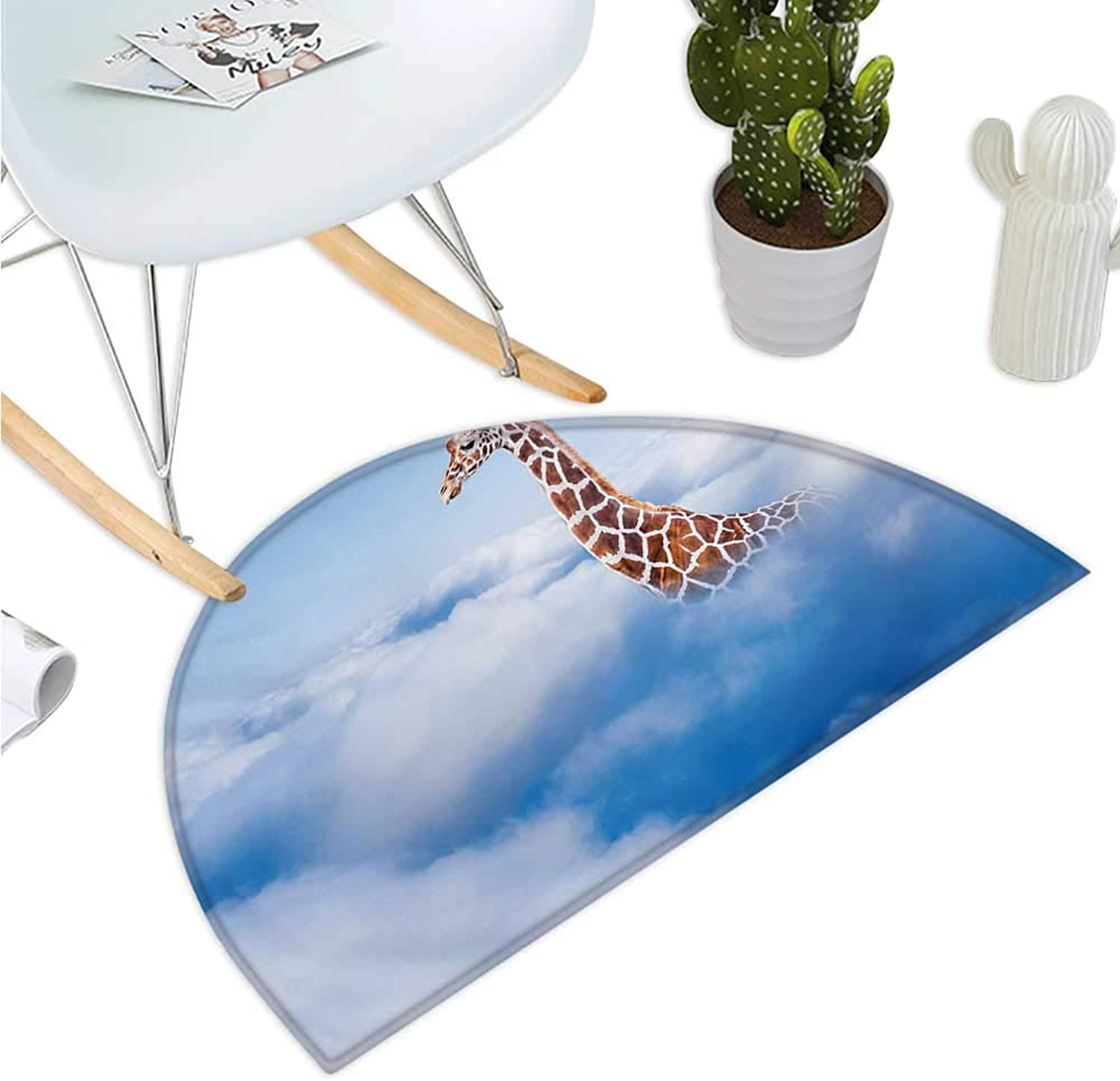 Giraffe Semicircle Doormat Aerial Scene of a Flying Animal in Fluffy Clouds Heaven Fantasy for Animals Themed Entry Door Mat H 35.4  xD 53.1  White Brown
