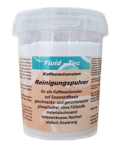 Fluid-Tec 500g Reinigungspulver Maschinen Reiniger Kaffeevollautomaten kompatibel mit Jura Saeco WMF Bosch Siemens Delonghi u.a. 150 Reinigungen