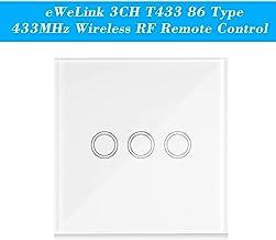 Extaum eWeLink 2CH T433 86 Tipo Panel t/áctil de Pared Pegajoso 433 MHz Control Remoto inal/ámbrico por RF M/ódulos de automatizaci/ón del transmisor Soporte para 2 pandillas Todos los Productos SONOFF