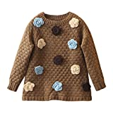 Mud Kingdom Toddler Girls Sweaters Brown 4T Floral Pullover
