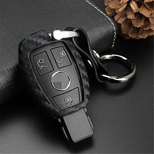 M.JVisun Carcasa para llave de coche de silicona suave con textura de fibra de carbono para Mercedes