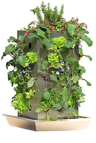 KUBI TTG Maxi Edelstahl Hochbeet mit Kompostierung, Wasserspeicher, Schneckenkante und vertikalem Bio Anbau, B-Ware