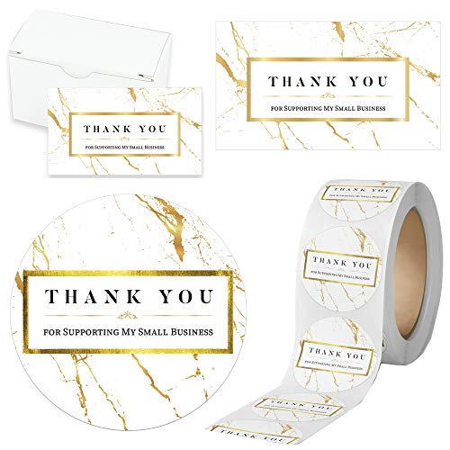 """Modern 5th - 500PCS Thank You for Supporting My Small Business Cards and Stickers Set, Gold Marble Design (3.5 x 2 inches 100pcs Cards and 1.5"""" Round 400pcs Stickers) for Customer Package Inserts"""